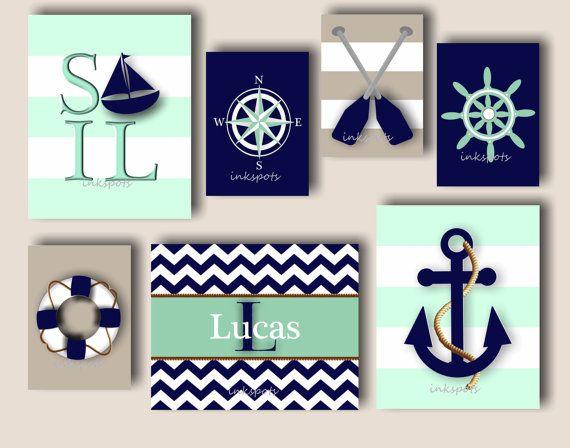 Nice Nursery Beach Art, Nursery Ocean Art, Nursery Nautical Wall Decor, Baby Boy  Nautical Art, Anchor Nursery Wall Art, Choose Colors NA1410