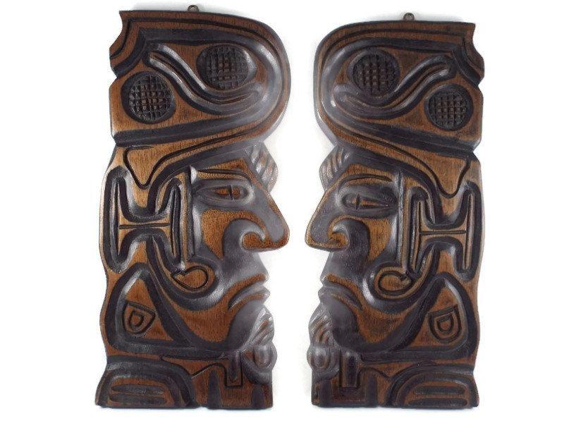 Vintage 1960 S 70 S Wood Hand Carved Tiki Inca Peruvian