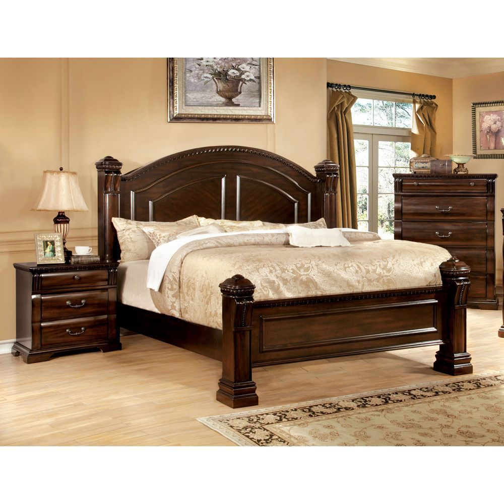 Furniture Of America Tay Traditional Cherry 2 Piece Poster Bed Set