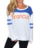Denver Broncos Color Block Varsity Sweatshirt in white with orange and blue detail