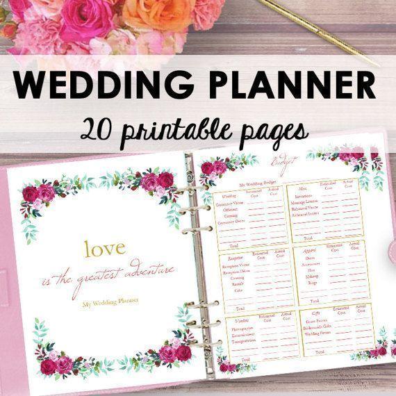 Wedding Planner Printable Wedding Planner Book Binder Etsy Wedding Planner Printables Wedding Planning Binder Wedding Planner Book