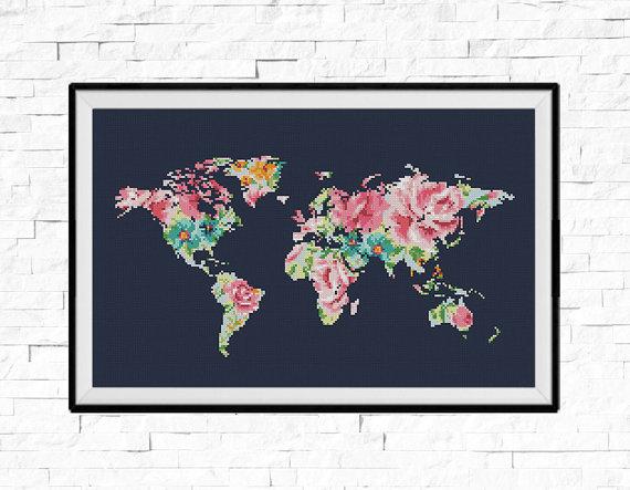 Bogo free world map cross stitch pattern floral world map bogo free world map cross stitch pattern floral world map silhouette flowers counted cross stitch chart modern decor pdf download 025 17 gumiabroncs Choice Image