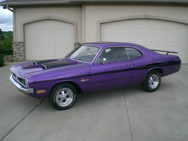 Vintage Purple Car 340 Classic Demon Dodge Mopar Muscle