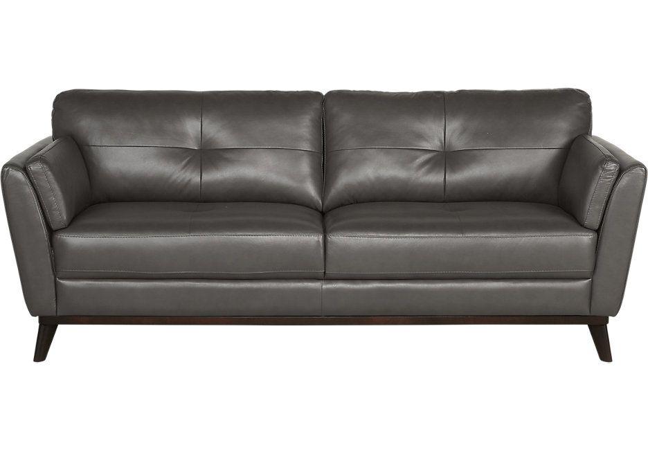 Sofia Vergara Gabriele Gray Leather Sofa Sofas Gray Grey Leather Sofa