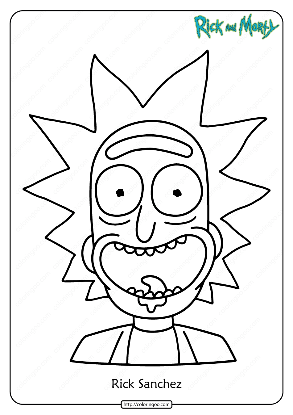 Free Printable Rick Sanchez Pdf Coloring Page in 2020