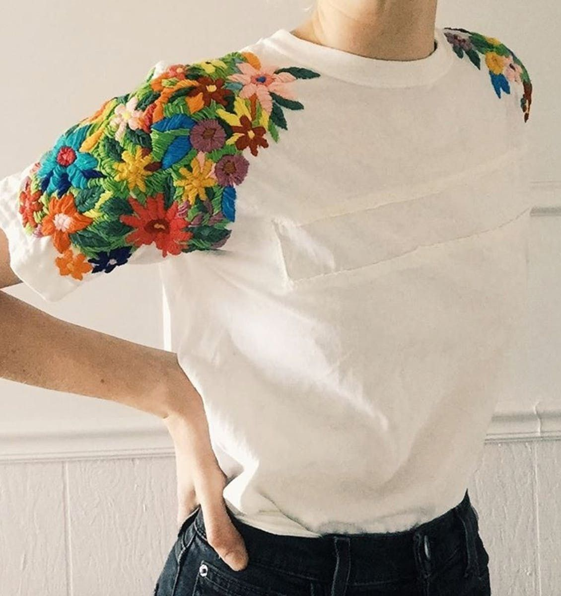 Cool DIY Embroidery Project – Flowery Shoulders pics