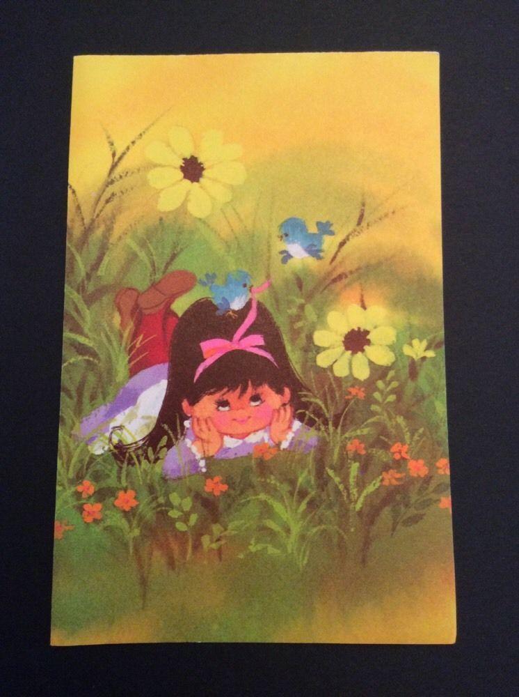 Gibson Letter Ettes Vtg Notecards 1 4 Fold Girl Bluebirds Flowers Blank Card 7 | eBay