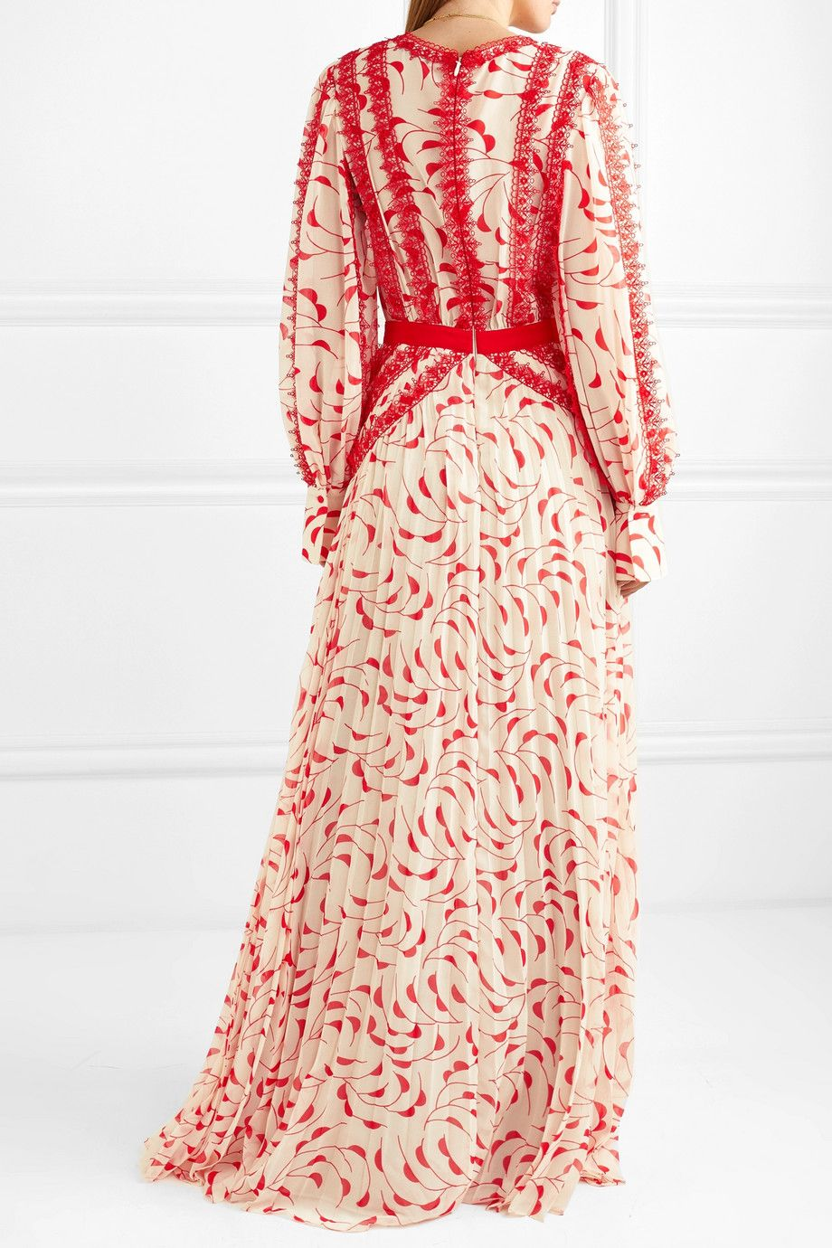 9eaa241c1bab Self-Portrait | Crescent guipure lace-trimmed pleated printed chiffon maxi  dress | NET-A-PORTER.COM