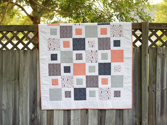 Block In Block Throw Quilt Lap Quilt With Navy Blue Gray And Coral Colors Flannel Backed