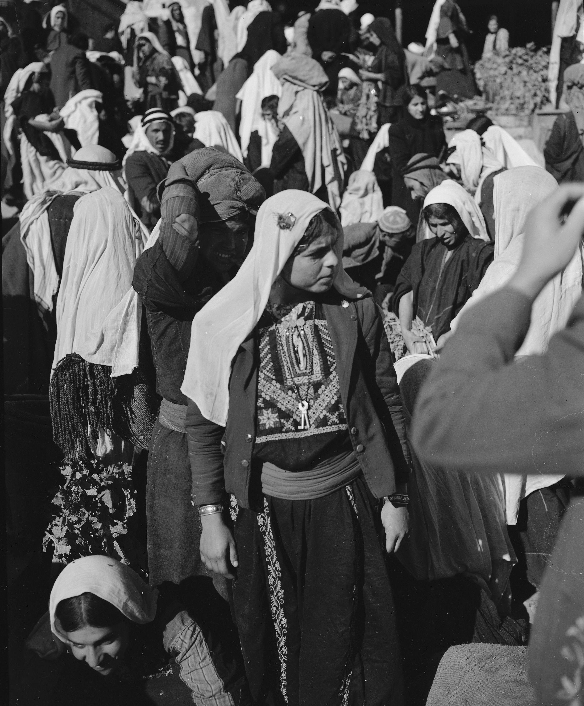 Arab Girls Shop In The Market Place Near Manger Square In Bethlehem Nov 28 1947 Ap Photo Jim Pringle Ref Pa Palestine Palestine History Israel History