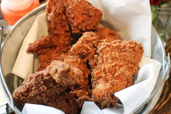 Fried Chicken And A Bowl Of Offal At Dallas Fried Chicken Food