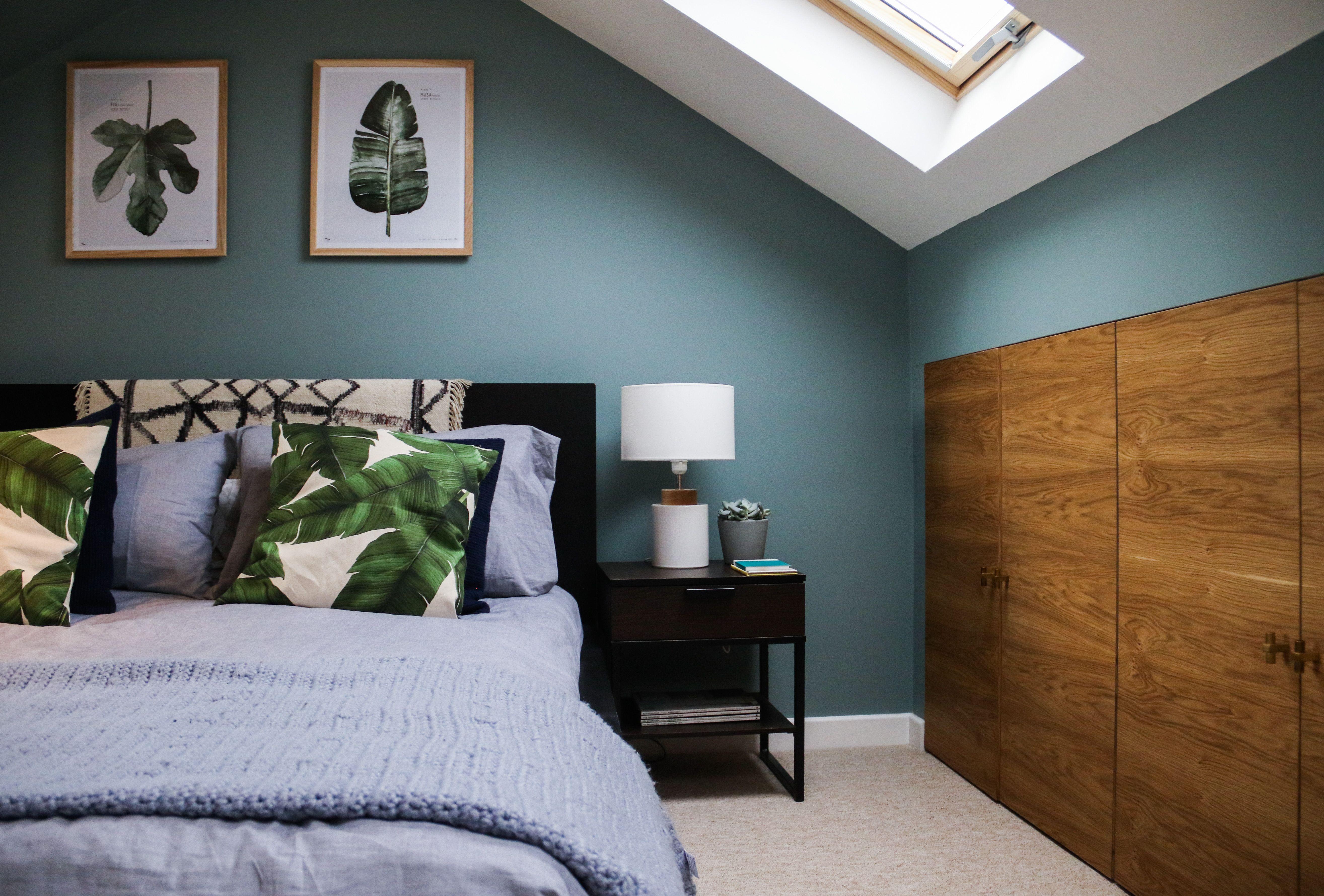 Loft bedroom images  Farrow u Ball Oval Room Blue palm leaves calming loft bedroom
