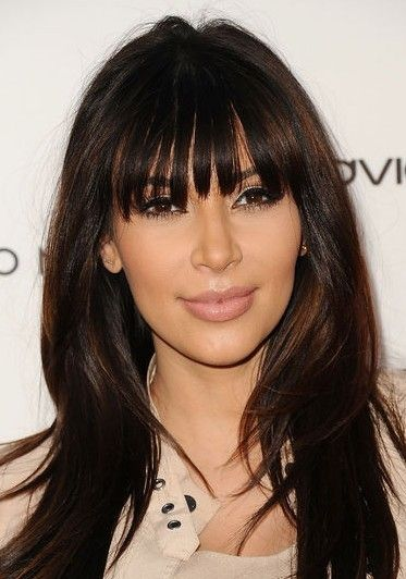 Pin By Crystal Burton On Hair Celebrity Haircuts Kim Kardashian Hair Hairstyles With Bangs
