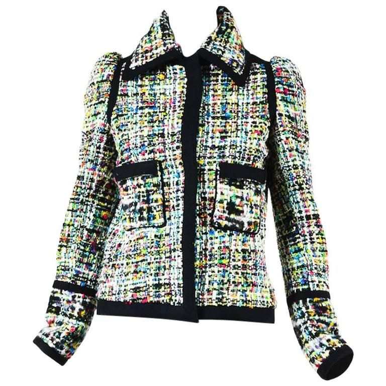 7204c9299e88 Balenciaga Runway Black Multicolor Tweed Woven Long Sleeve Coat Jacket