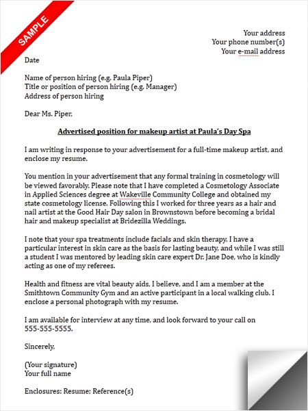 Makeup Artist Cover Letter Sample Cover Letter Sample - Resumes And Cover Letters Samples
