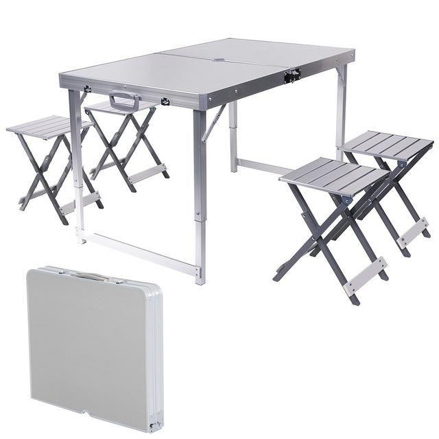 Umbrella Hole Aluminum Alloy Portable Outdoor Folding Picnic Table With 4 Seats