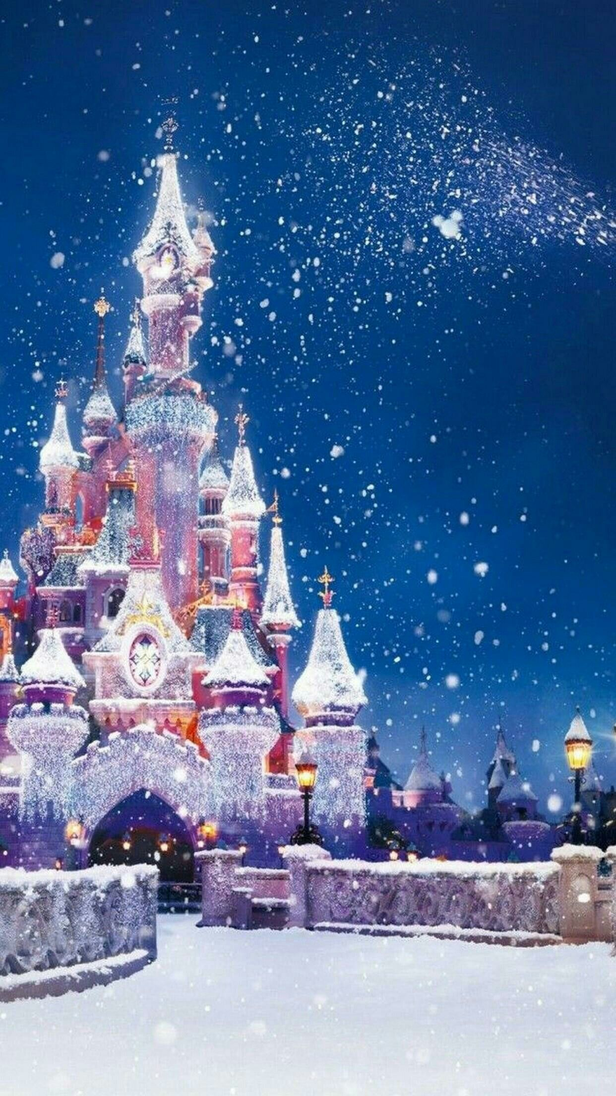 Chateau Disney Sous La Neige Fond Ecran Noel Fond D Ecran De Telephone Disney Papier Peint Disney