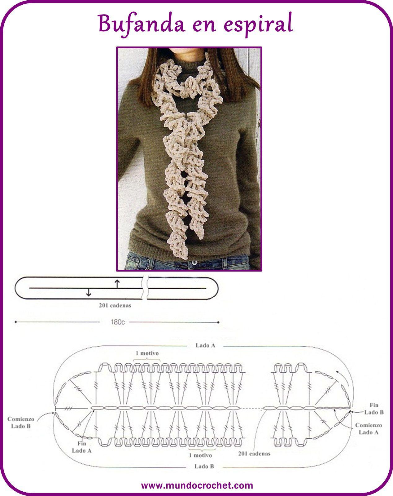 Bufanda crochet espiral | bufandas | Pinterest | Crochet espiral ...