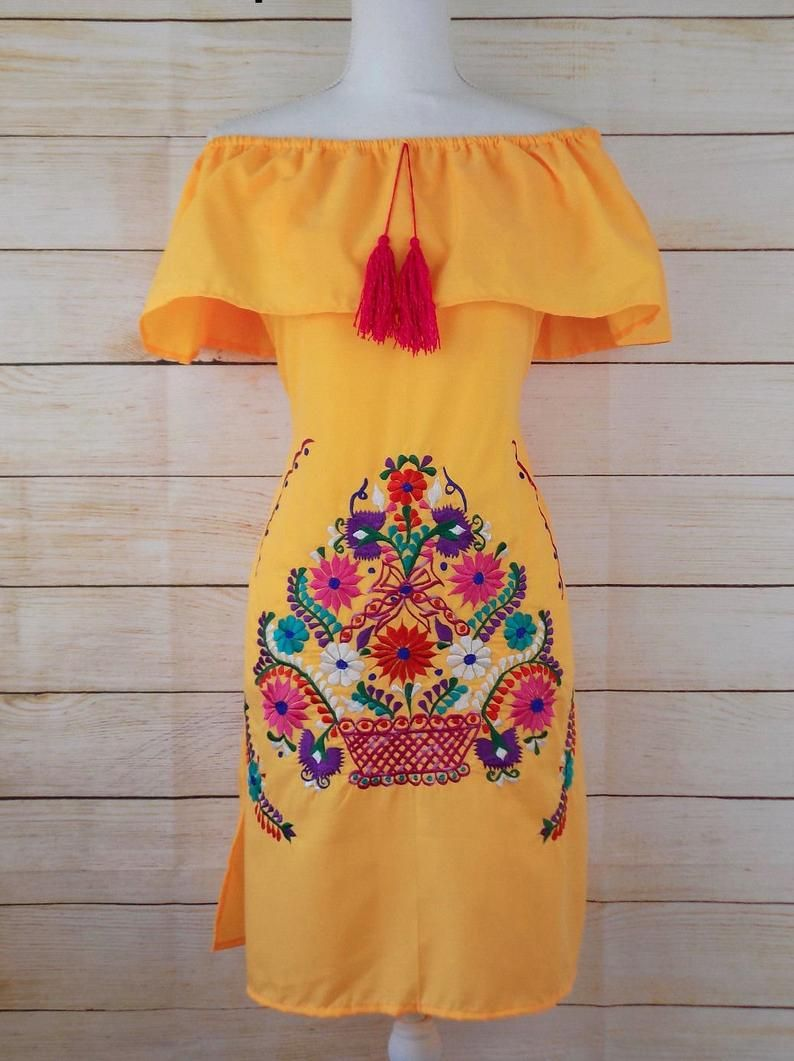 Women S Mexican Dress Embroidered Dress Off The Etsy In 2021 Mexican Embroidered Dress Mexican Dresses Traditional Mexican Dress [ 1061 x 794 Pixel ]