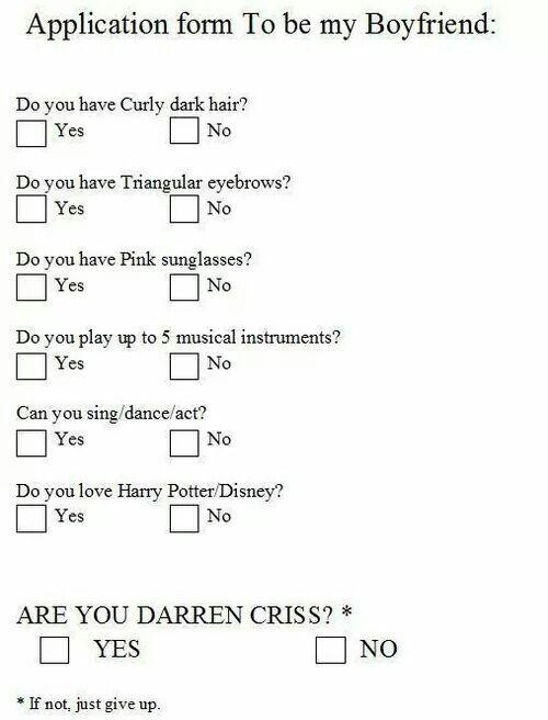 Application form to be my boyfriend Boyfriend