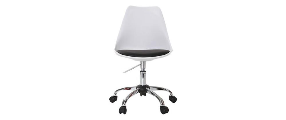 Chaise design à roulettes blanche avec assise noire NEW