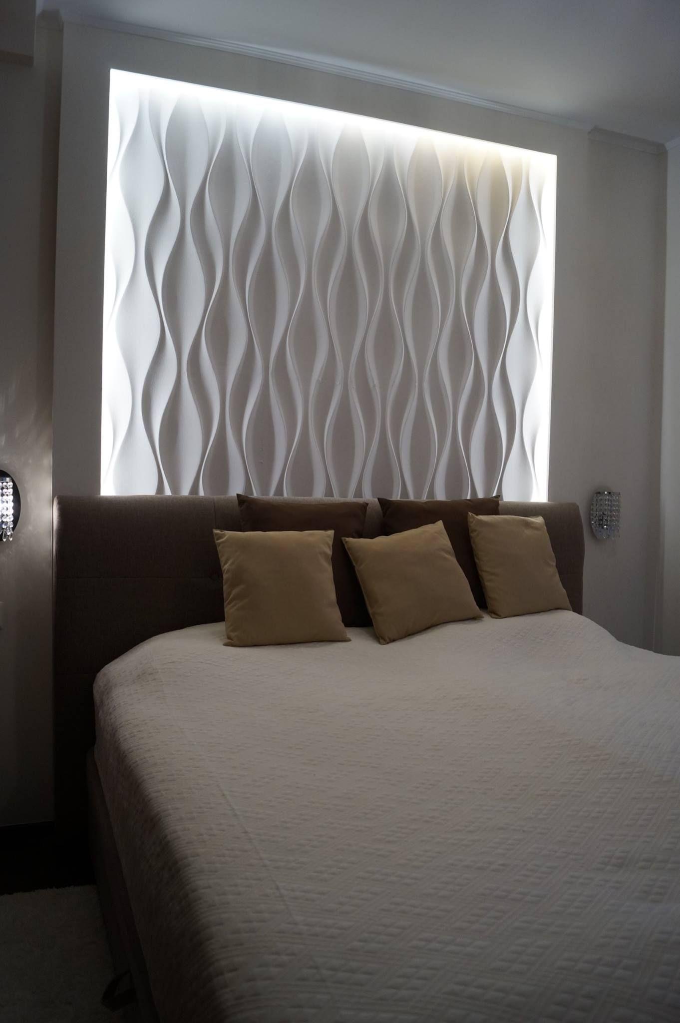 Wandpaneele aus Gips im Schlafzimmer | Schlafzimmer | Pinterest ...