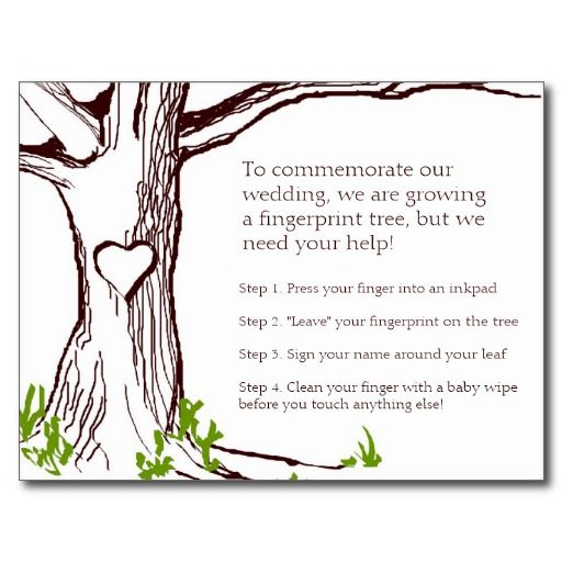 Wedding Fingerprint Tree Instruction Card Postcards- adjust to ...