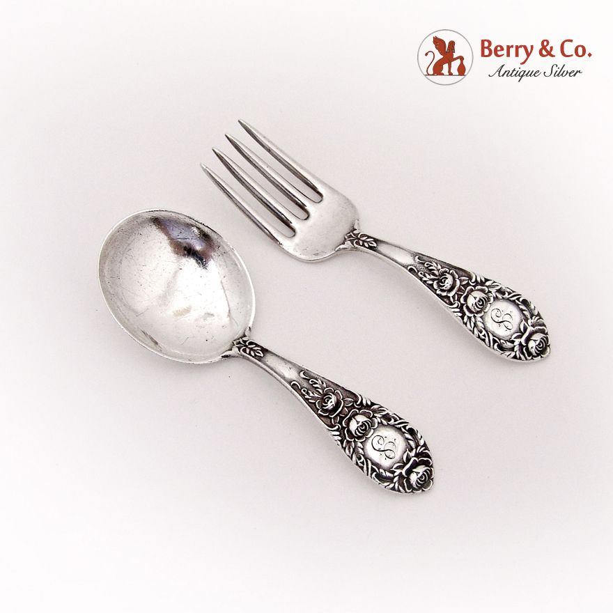 Rose By Stieff Sterling Silver Baby Set 2pc
