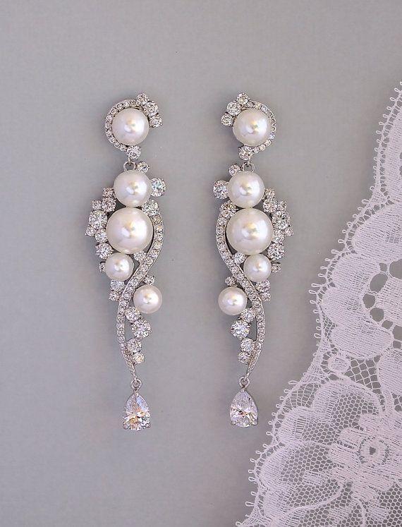 Pearl Bridal Earrings Crystal And, Bridal Chandelier Earrings With Pearls