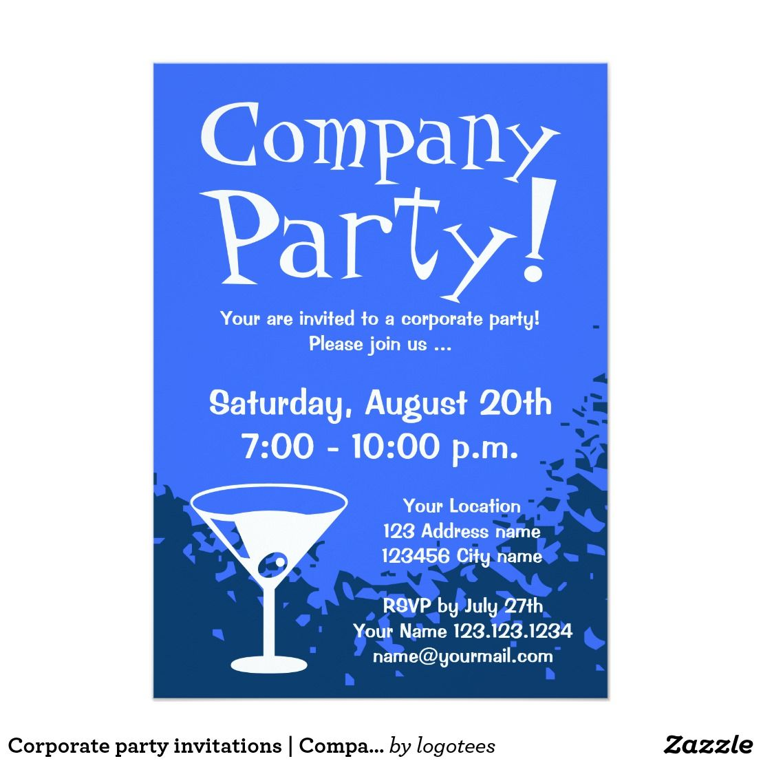 Corporate party invitations  Company invites  Zazzle.com