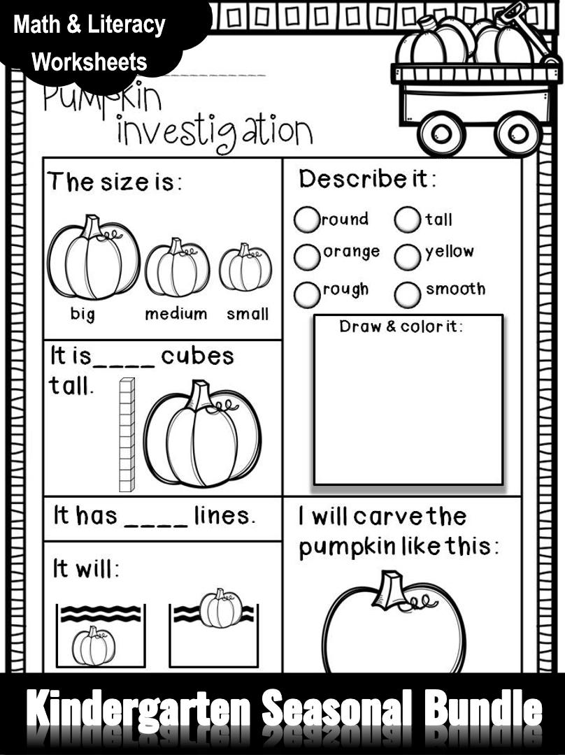 Fall Winter Spring Summer Seasonal Bundle Math Literacy Pack For Kindergarten Video Fall Kindergarten Fall Preschool Fall Math [ 1080 x 808 Pixel ]