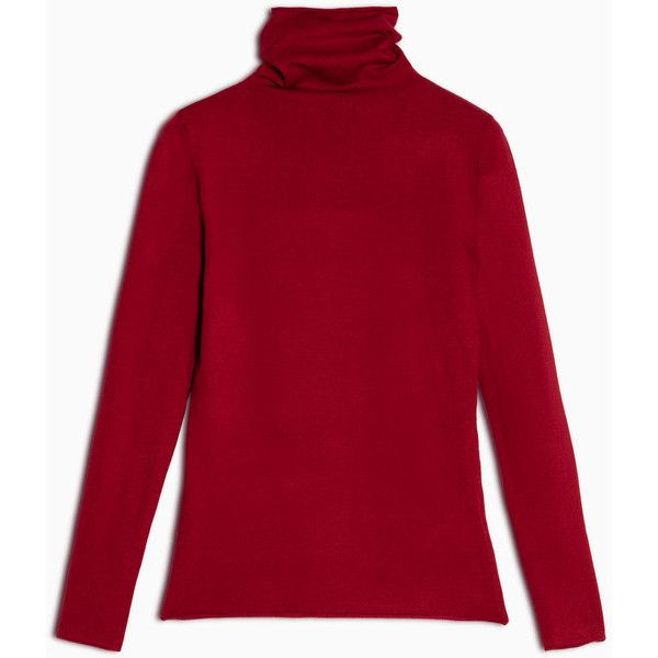 Max&Co. High-neck slim-fit jumper ($90) ❤ liked on Polyvore featuring tops, sweaters, red, purple long sleeve top, high neck top, slimming tops, purple top and slim sweaters