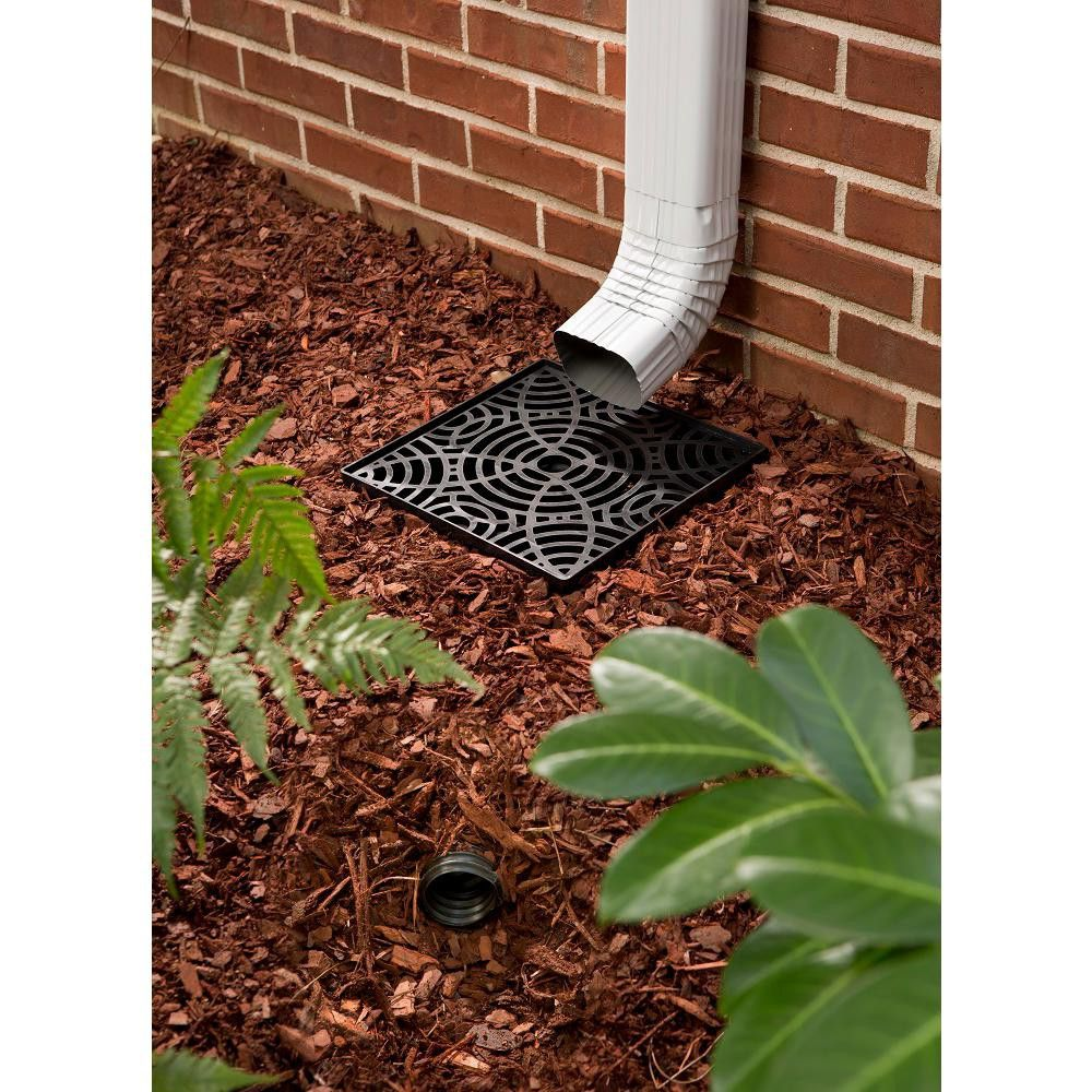 Amerimax 12 Inch No Dig Low Profile Catch Basin Downspout Extension Kit Black Landscape Drainage Downspout Backyard Drainage