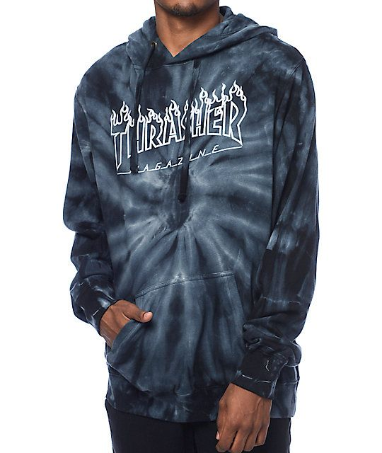 f8b80d96ba9d A fleece lining provides excellent comfort and warmth in a grey tie dye  colorway that features an iconic Thrasher flame logo graphic screen…