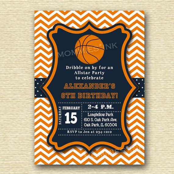 Basketball Invitation Basketball Birthday Invitation Basketball