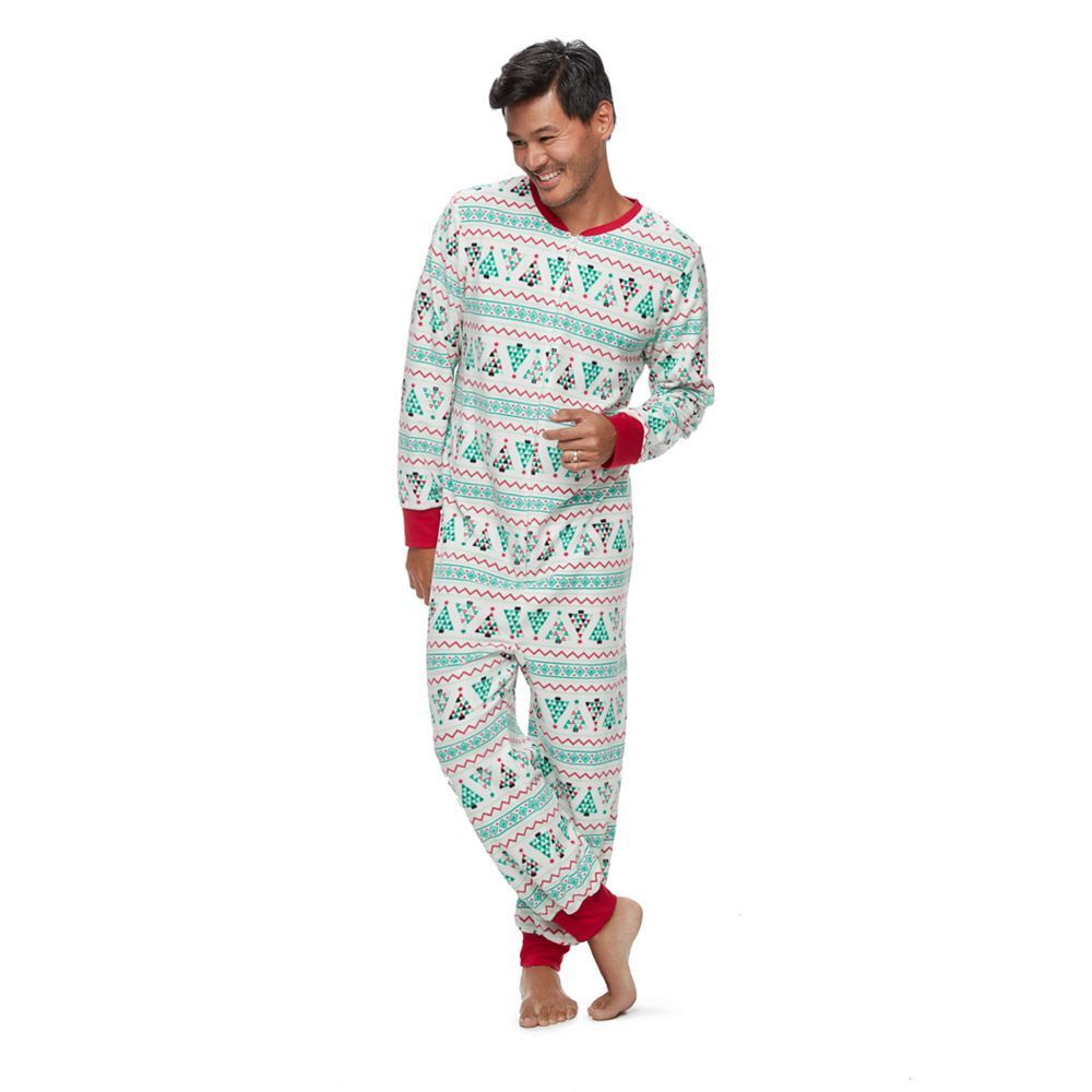 big tall jammies for your families christmas tree fairisle one piece fleece pajamas