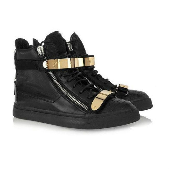 Giuseppe Zanotti Mens Croc High Top Buckle Sneakers In Black Model:  gzmenshoes018 580 Units in