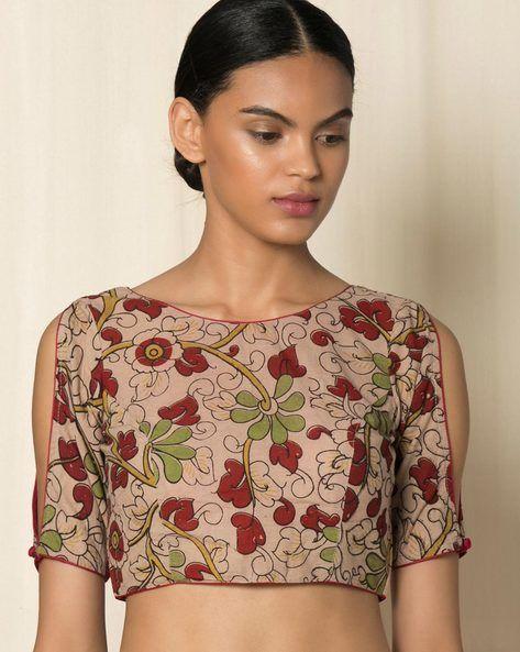 9d656b36f94ad Kalamkari blouse designer sleeves  shouldercutsleeves  summerblouse   hotblouse  designer  custommade  officewearblouses