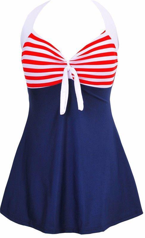 006be9a382d88 Sexy Plus Size Stripe Padded Halter Skirt Swimwear Women One Piece Suits  Swimsuit Beachwear Bathing Suit Swimwear Dress M To 4XL