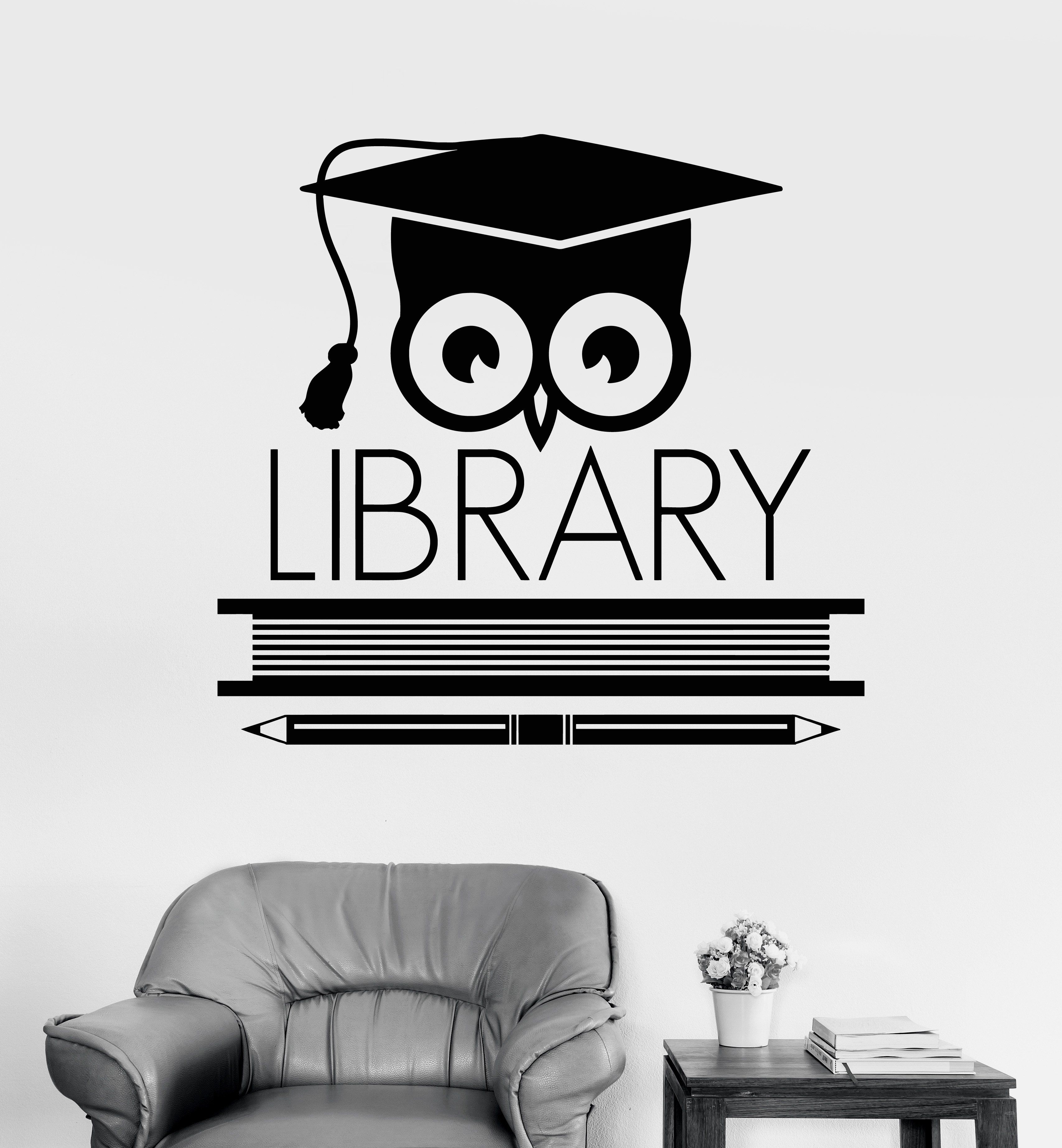 Vinyl wall decal logo signboard library learning scientist owl stickers 1908ig