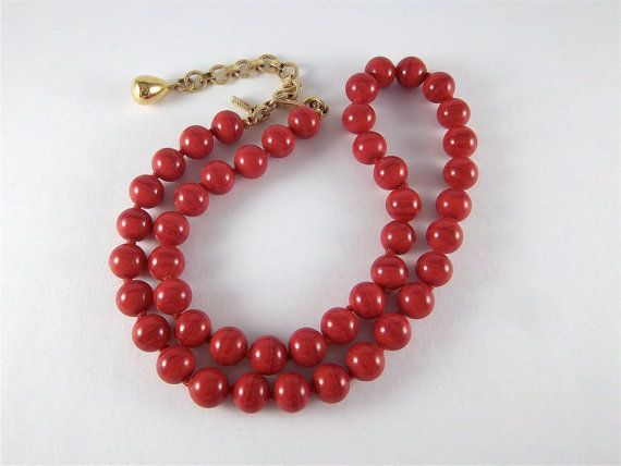 Vintage Red Glass Bead Necklace  Signed Monet by SodaRenee on Etsy