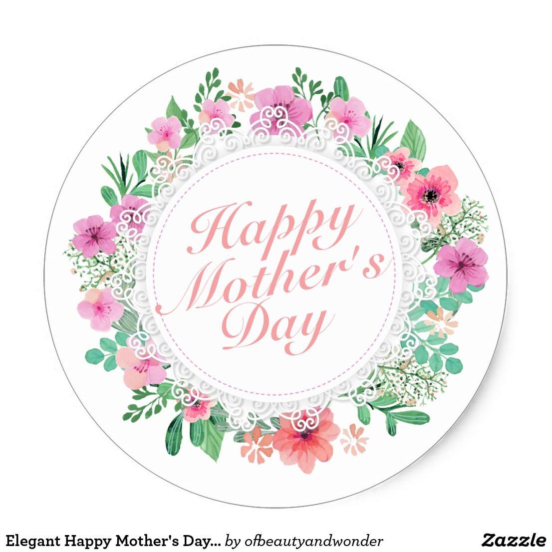 Elegant Happy Mother S Day Floral Frame Sticker Zazzle Com Happy Mothers Day Happy Mothers Mothers Day