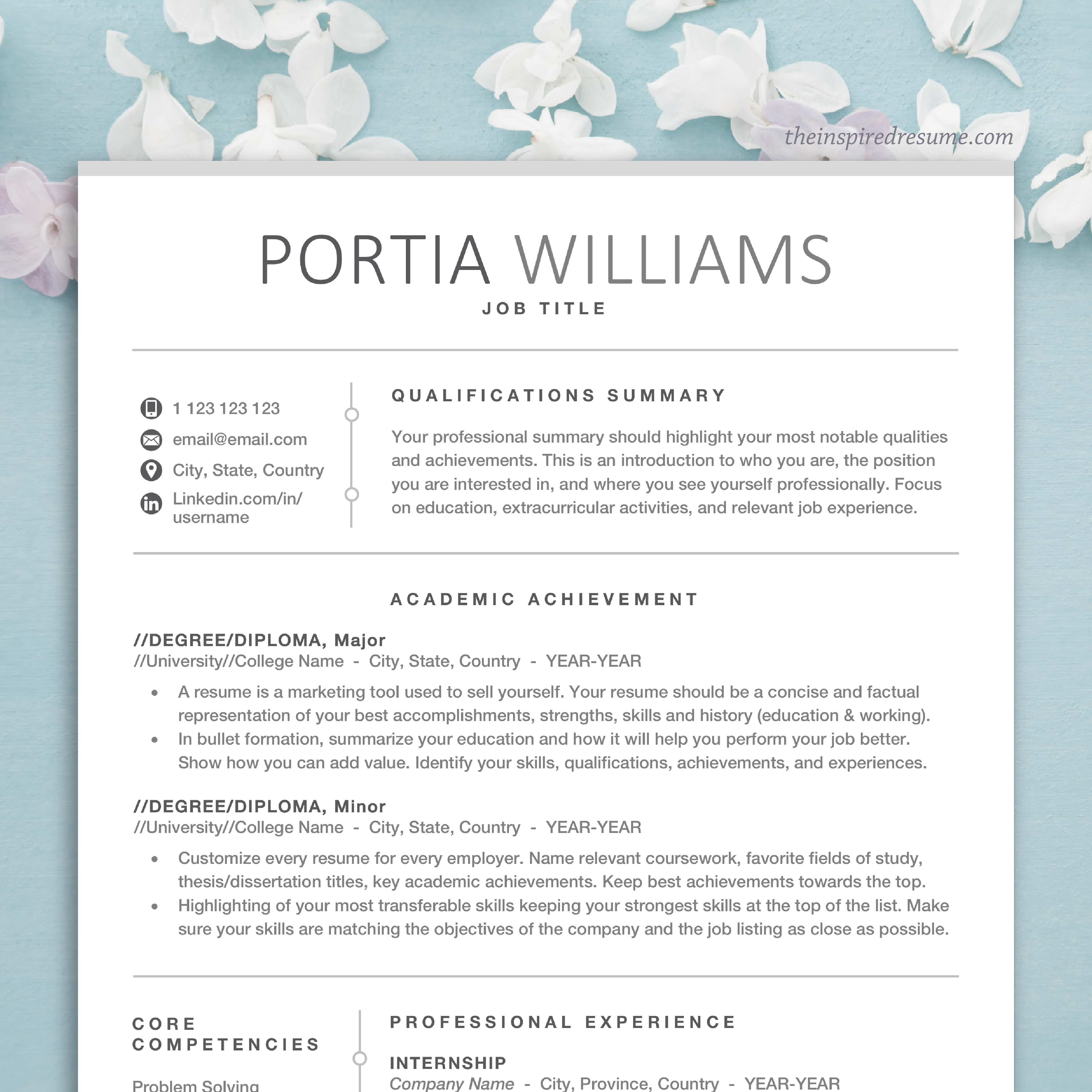 Pin On Professional Resume Cv