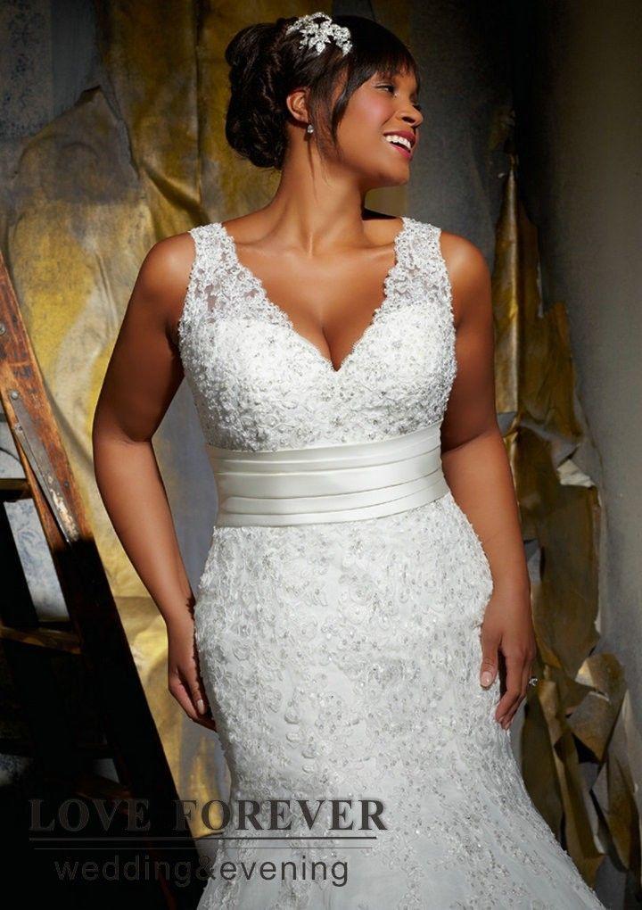 Sleeveless V Neckline Mermaid Ivory 2013 Fat Women Plus Size Wedding