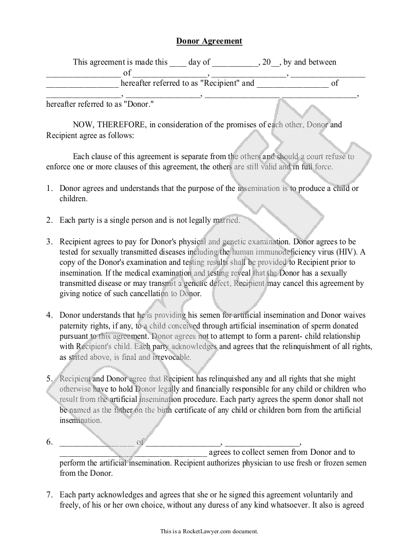 Known Sperm Donor Insemination Agreement Contract With Sample
