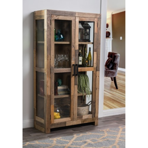 Kosas Home Norman 2 Door Curio Cabinet Furniture Cabinet Bookcase With Glass Doors