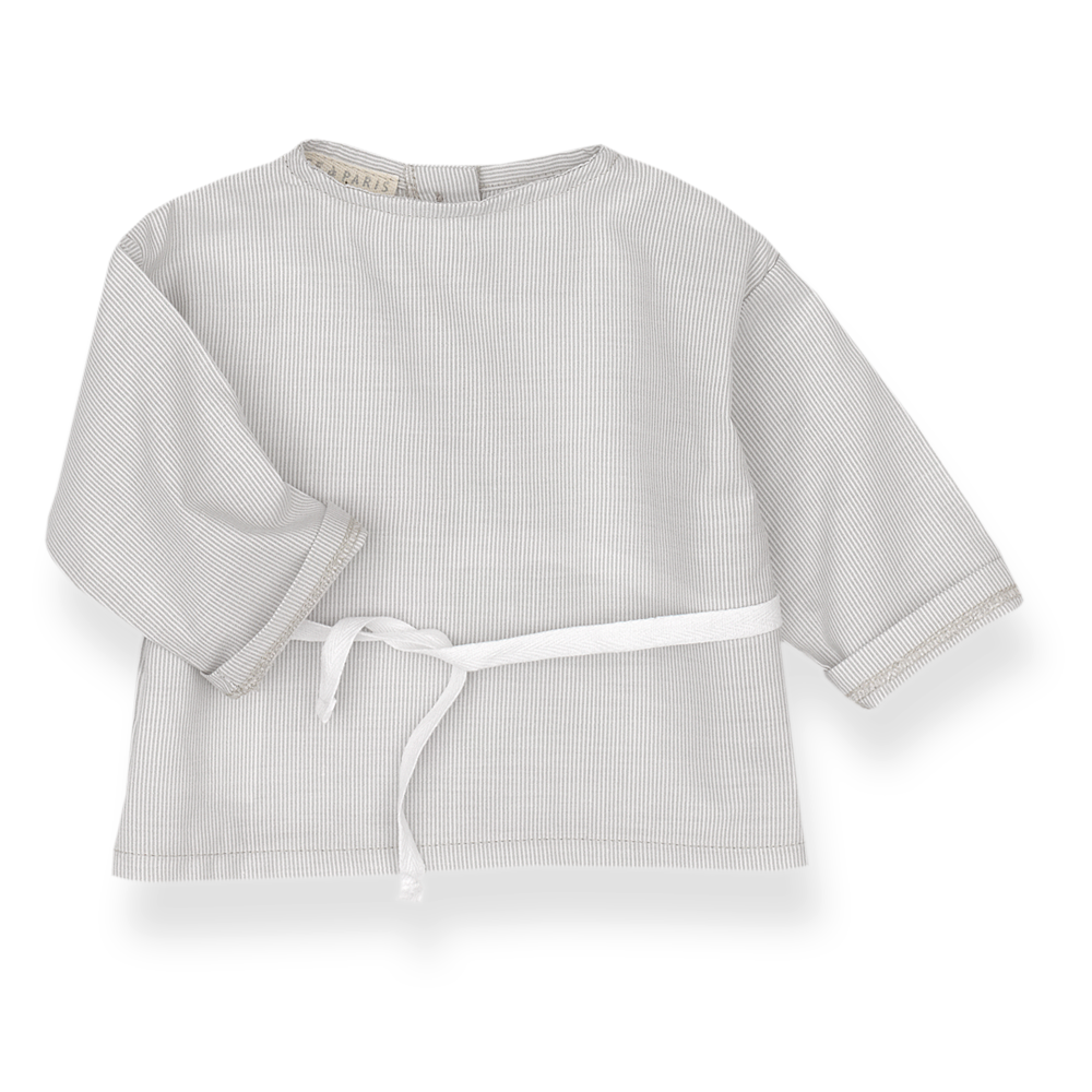 Children clothes, Shirts Baby crossover Light grey stripes on beige cotton, Alice à Paris