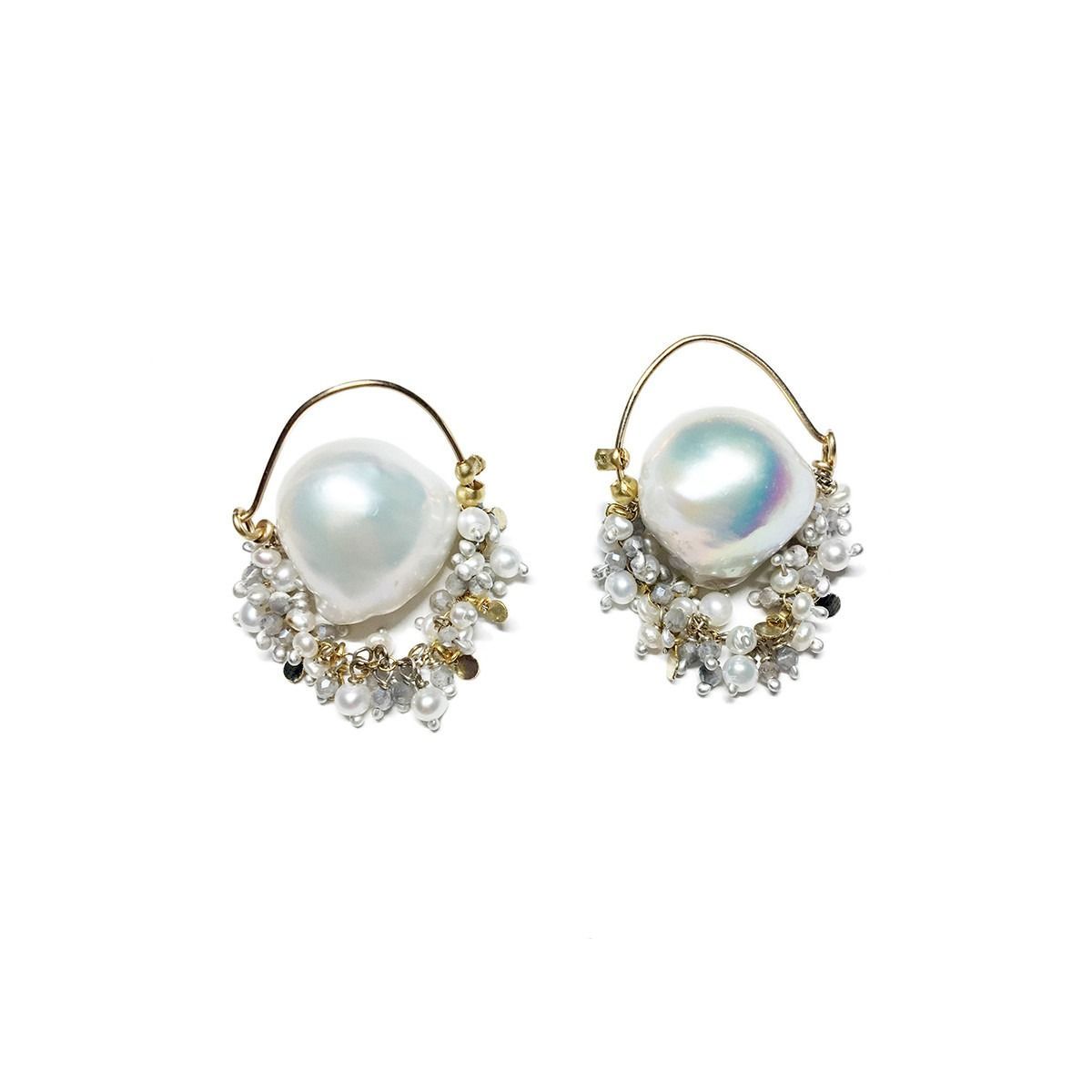 The Sea Foam Baroque Pearl Hoop Earrings Come From High End Jewellery Brand Sage Belber Jewelry A Of Small White Pearls Sparkling Pale Grey