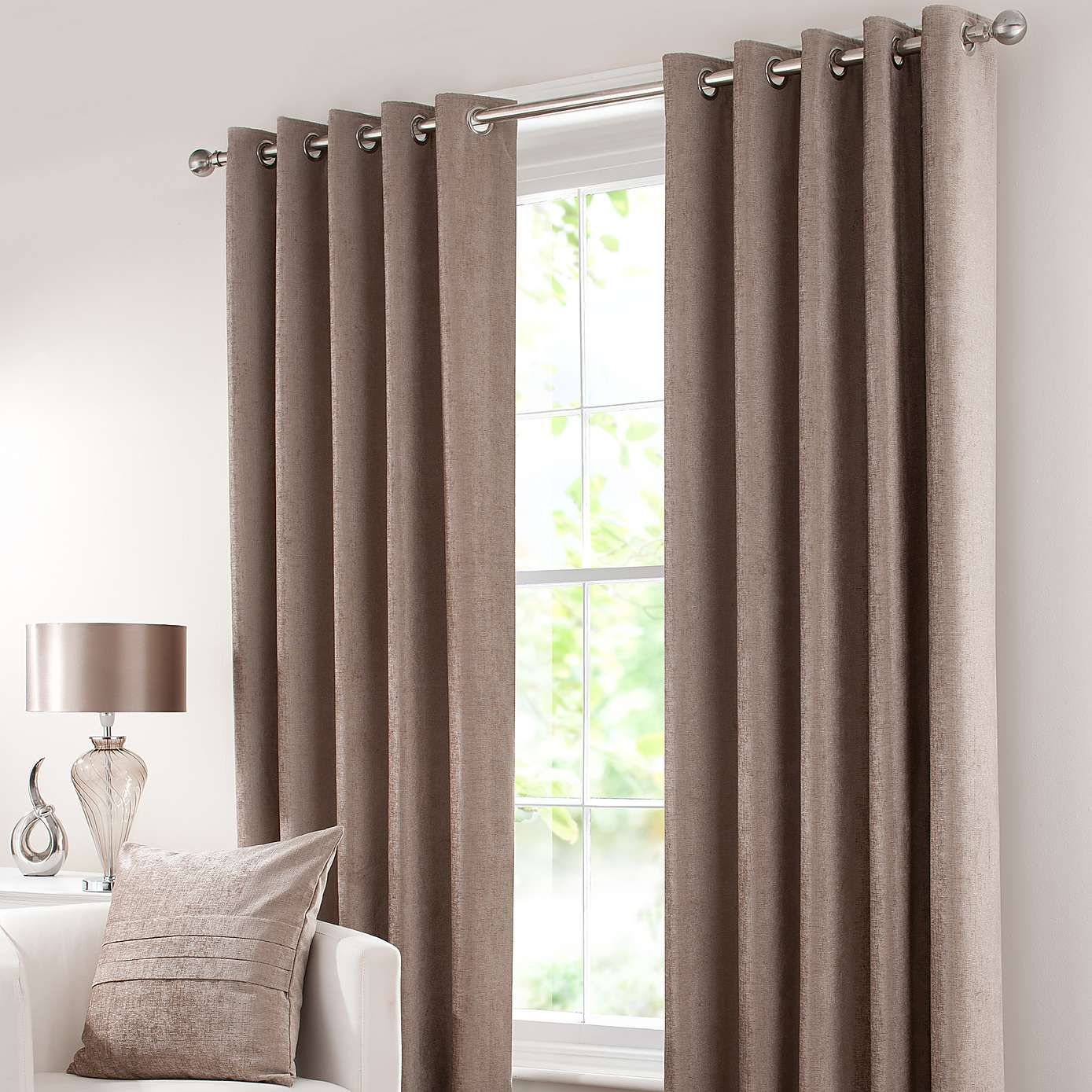 OUR LIVING ROOM CURTAINS COLOR Taupe Chenille Lined Eyelet Curtains