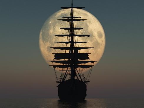 moon + old ship